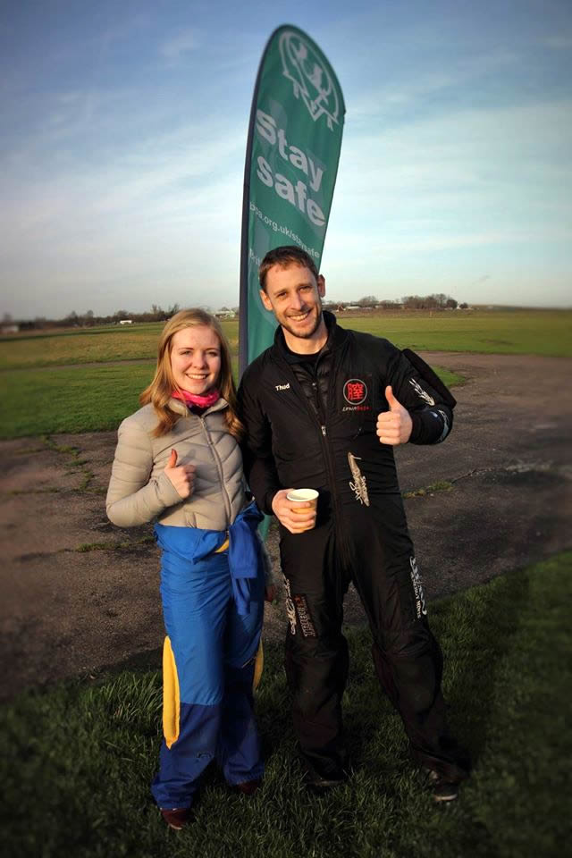 Happy AFF skydiving course graduate