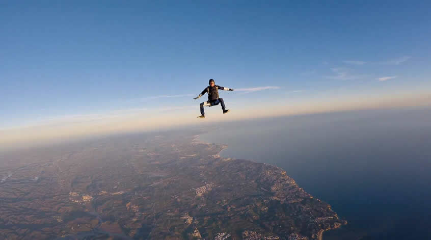 Freefly skydiver in freefall