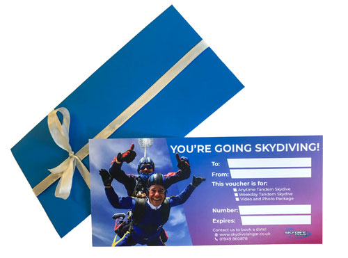 Skydiving gift card