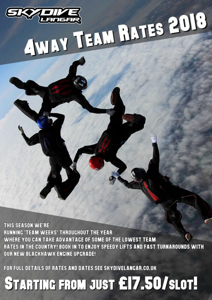 4 way skydiving team training prices poster
