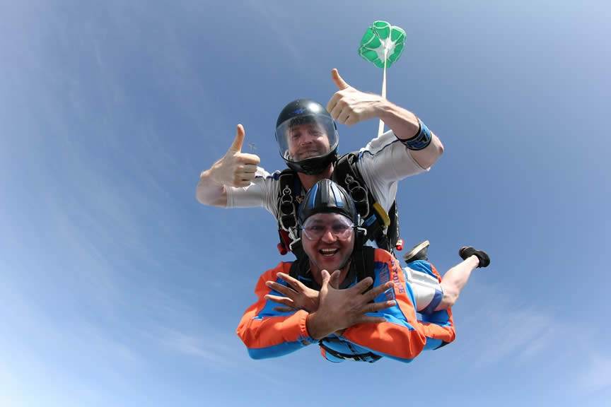 Tandem Skydivers smiling at camera in freefall